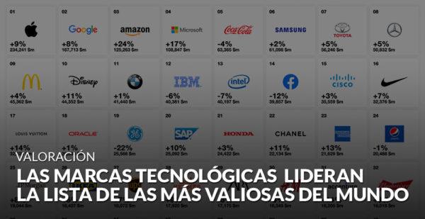 Las marcas tecnológicas lideran la lista de las más valiosas del mundo